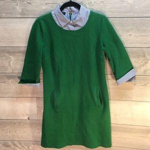 Talbots Green Dress with PinStripe Collar